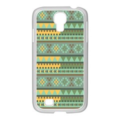 Bezold Effect Traditional Medium Dimensional Symmetrical Different Similar Shapes Triangle Green Yel Samsung Galaxy S4 I9500/ I9505 Case (white)