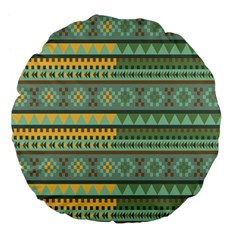Bezold Effect Traditional Medium Dimensional Symmetrical Different Similar Shapes Triangle Green Yel Large 18  Premium Flano Round Cushions by Mariart