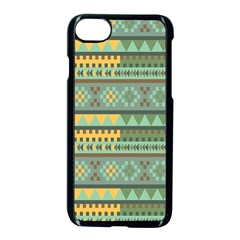 Bezold Effect Traditional Medium Dimensional Symmetrical Different Similar Shapes Triangle Green Yel Apple Iphone 7 Seamless Case (black) by Mariart