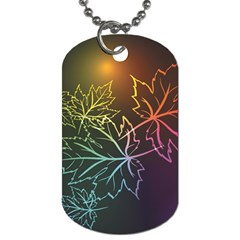 Beautiful Maple Leaf Neon Lights Leaves Marijuana Dog Tag (two Sides) by Mariart