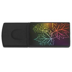 Beautiful Maple Leaf Neon Lights Leaves Marijuana Usb Flash Drive Rectangular (4 Gb) by Mariart