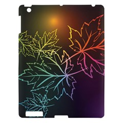 Beautiful Maple Leaf Neon Lights Leaves Marijuana Apple Ipad 3/4 Hardshell Case by Mariart