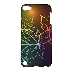Beautiful Maple Leaf Neon Lights Leaves Marijuana Apple Ipod Touch 5 Hardshell Case by Mariart