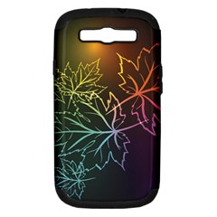 Beautiful Maple Leaf Neon Lights Leaves Marijuana Samsung Galaxy S Iii Hardshell Case (pc+silicone) by Mariart