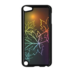 Beautiful Maple Leaf Neon Lights Leaves Marijuana Apple Ipod Touch 5 Case (black) by Mariart