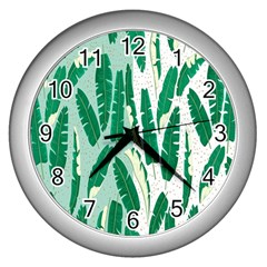 Banana Leaf Green Polka Dots Wall Clocks (silver)  by Mariart
