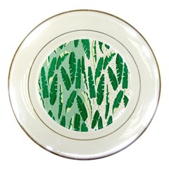 Banana Leaf Green Polka Dots Porcelain Plates by Mariart