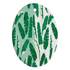 Banana Leaf Green Polka Dots Oval Ornament (two Sides) by Mariart