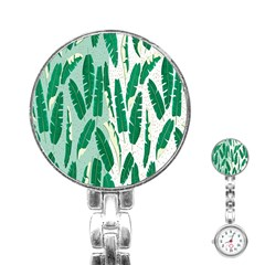 Banana Leaf Green Polka Dots Stainless Steel Nurses Watch by Mariart