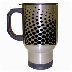 Black White Polkadots Line Polka Dots Travel Mug (silver Gray) by Mariart