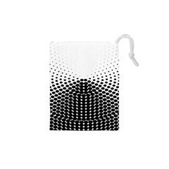 Black White Polkadots Line Polka Dots Drawstring Pouches (xs)  by Mariart