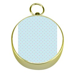 Blue Red Circle Polka Gold Compasses by Mariart