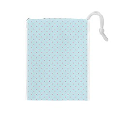Blue Red Circle Polka Drawstring Pouches (large)  by Mariart
