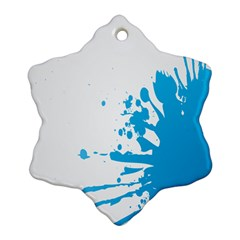 Blue Stain Spot Paint Snowflake Ornament (two Sides) by Mariart