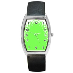 Bubble Polka Circle Green Barrel Style Metal Watch by Mariart