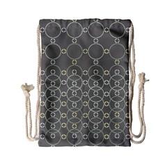 Circles Grey Polka Drawstring Bag (small) by Mariart