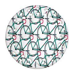 Bicycle Cycling Bike Green Sport Ornament (round Filigree) by Mariart