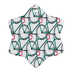 Bicycle Cycling Bike Green Sport Ornament (snowflake) by Mariart