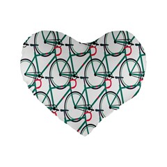 Bicycle Cycling Bike Green Sport Standard 16  Premium Flano Heart Shape Cushions by Mariart
