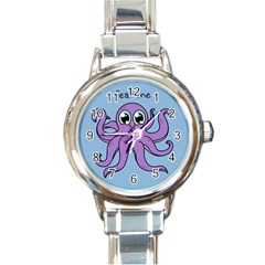 Colorful Cartoon Octopuses Pattern Fear Animals Sea Purple Round Italian Charm Watch by Mariart