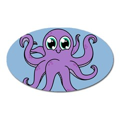 Colorful Cartoon Octopuses Pattern Fear Animals Sea Purple Oval Magnet by Mariart