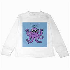 Colorful Cartoon Octopuses Pattern Fear Animals Sea Purple Kids Long Sleeve T Shirts by Mariart