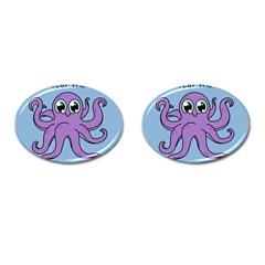 Colorful Cartoon Octopuses Pattern Fear Animals Sea Purple Cufflinks (oval) by Mariart