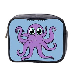 Colorful Cartoon Octopuses Pattern Fear Animals Sea Purple Mini Toiletries Bag 2 Side by Mariart