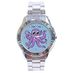 Colorful Cartoon Octopuses Pattern Fear Animals Sea Purple Stainless Steel Analogue Watch by Mariart