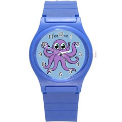 Colorful Cartoon Octopuses Pattern Fear Animals Sea Purple Round Plastic Sport Watch (s) by Mariart
