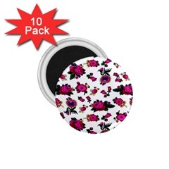 Crown Red Flower Floral Calm Rose Sunflower White 1 75  Magnets (10 Pack)  by Mariart