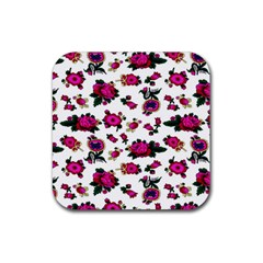 Crown Red Flower Floral Calm Rose Sunflower White Rubber Square Coaster (4 Pack)  by Mariart