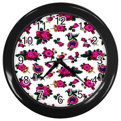 Crown Red Flower Floral Calm Rose Sunflower White Wall Clocks (black) by Mariart