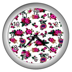 Crown Red Flower Floral Calm Rose Sunflower White Wall Clocks (silver)  by Mariart