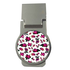 Crown Red Flower Floral Calm Rose Sunflower White Money Clips (round)  by Mariart