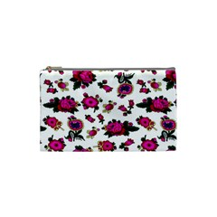 Crown Red Flower Floral Calm Rose Sunflower White Cosmetic Bag (small)  by Mariart