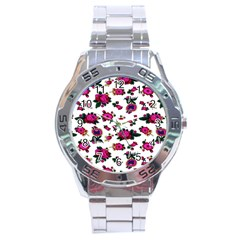 Crown Red Flower Floral Calm Rose Sunflower White Stainless Steel Analogue Watch by Mariart