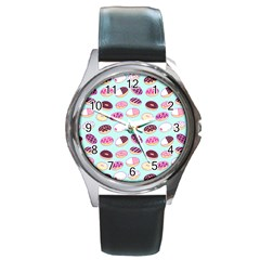 Donut Jelly Bread Sweet Round Metal Watch by Mariart