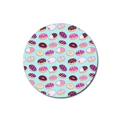 Donut Jelly Bread Sweet Rubber Coaster (round)  by Mariart