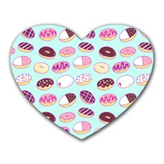 Donut Jelly Bread Sweet Heart Mousepads by Mariart