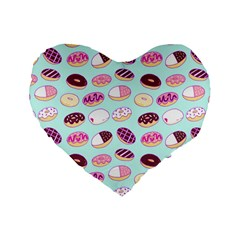 Donut Jelly Bread Sweet Standard 16  Premium Flano Heart Shape Cushions by Mariart