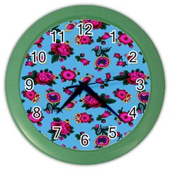 Crown Red Flower Floral Calm Rose Sunflower Color Wall Clocks by Mariart
