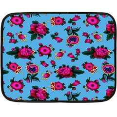 Crown Red Flower Floral Calm Rose Sunflower Double Sided Fleece Blanket (mini)