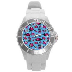 Crown Red Flower Floral Calm Rose Sunflower Round Plastic Sport Watch (l) by Mariart