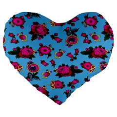 Crown Red Flower Floral Calm Rose Sunflower Large 19  Premium Heart Shape Cushions by Mariart
