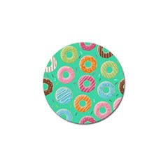 Doughnut Bread Donuts Green Golf Ball Marker by Mariart