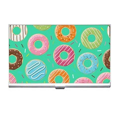 Doughnut Bread Donuts Green Business Card Holders by Mariart