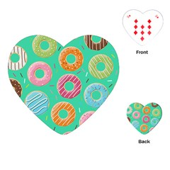 Doughnut Bread Donuts Green Playing Cards (heart)  by Mariart