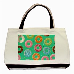 Doughnut Bread Donuts Green Basic Tote Bag by Mariart