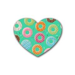 Doughnut Bread Donuts Green Rubber Coaster (heart)